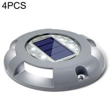4 PCS LED Solar Powered Embedded Ground Lamp IP68 Waterproof Outdoor Garden Lawn Lamp (Grijs)