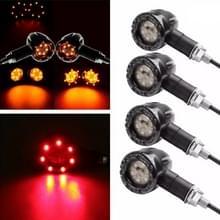 4 PC's DC 12V motorfiets 13-LED Tail Lamp Pinklichten oogklep licht  (gele + rood licht)