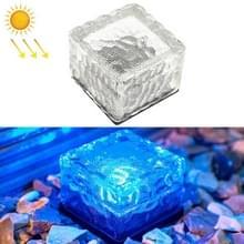 Solar Powered Square Tempered Glass Outdoor LED Begraven Licht Tuin Decoratie Lamp IP55 Waterdicht Grootte: 7 x 7 x 5cm (Blauw Licht)