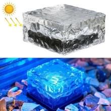 Solar Powered Square Tempered Glass Outdoor LED Begraven Licht tuin decoratie lamp IP55 Waterdicht Grootte: 10 x 10 x 5 2 cm (Blauw licht)