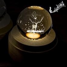 3D Word gravure kristallen bol muziekdoos kerst herten patroon elektronische Swivel muzikale verjaardag cadeau Home decor met muziek
