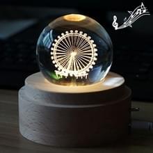 3D Word gravure van kristallen bol muziekdoos reuzenrad patroon elektronische Swivel muzikale verjaardag cadeau Home decor met muziek