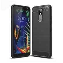 Geborsteld textuur koolstofvezel TPU Case voor LG K40 (zwart)
