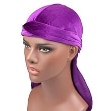 Fluweel tulband cap lange staart piraat Hat chemotherapie Cap (paars)