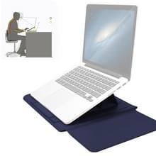 4-in-1 Universal Waterproof PU Leather Laptop Liner Bag met Handle & Stand & Pen Houder + 2 Winders + Muistas + Charger Bag Set voor 15 inch laptops (Donkerblauw)