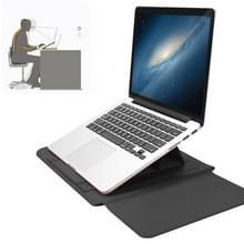 4-in-1 Universal Waterproof PU Leather Laptop Liner Bag met Handle & Stand & Pen Houder + 2 Winders + Muistas + Charger Bag Set voor 15 inch laptops (Grijs)
