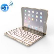 F8SM voor iPad Mini 3/2/1 laptop versie kleurrijke backlit aluminiumlegering Bluetooth toetsenbord beschermende cover (goud)