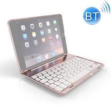 F8SM+ voor iPad mini 4 Laptop versie kleurrijke achtergrondverlichting aluminium legering Bluetooth-toetsenbord beschermhoes (Rose Gold)
