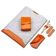 4 in 1 laptop Crazy Horse textuur bont voelde innerlijke zak + Power Bag + muis opbergtas + 3 oortelefoon kabel winders voor MacBook 13 3 inch (licht bruin)