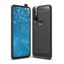 Geborsteld textuur koolstofvezel TPU Case voor Vivo V15 (zwart)