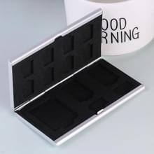 13 in 1 geheugenkaart aluminium legering beschermende case box voor SD + 10 TF + 2 Mini SD-kaarten (zilver)