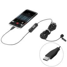 BOYA door-DM2 USB-C / Type-C uitzending Lavalier condensatormicrofoon met voorruit voor Android Phones / tabletten (zwart)