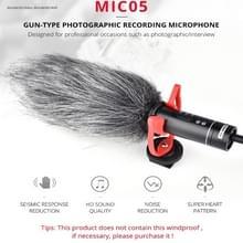 YELANGU YLG9930B MIC05 professioneel interview condensator video shotgun microfoon met 3.5 mm audio kabel voor DSLR & DV camcorder (zwart)