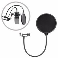 Double-layer Recording Microphone Studio Wind Screen Pop Filter Mask Shield with Clip Stabilizing Arm  For Studio Recording  Live Broadcast  Live Show  KTV  etc(Black)