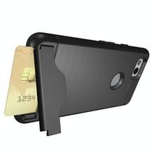 Voor Google Pixel 2 scheidbaar PC + TPU beschermende combinatie Back Cover met houder & Card Slot(Black)
