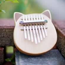 Vvave 8 belangrijke kat Kalimba berken materiaal duim piano muziek instrument met leren boek Tune Hammer (BurlyWood)