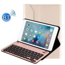 Voor iPad mini 4 afneembare aluminium legering Bluetooth toetsenbord + Lambskin textuur lederen draagtas met houder (goud)