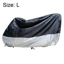 210D Oxford Cloth Motorcycle Electric Car Regenproof Dust-proof Cover  Grootte: L (Zwart Zilver)