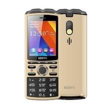 SERVO R25 mobiele telefoon  5500mAh batterij  2 8 inch  21 toetsen  ondersteuning Bluetooth  FM  zaklamp  MP3/MP4  GSM  Dual SIM  met draadloze koptelefoon headset  Russisch toetsenbord (goud)