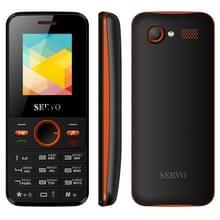 SERVO V8240 GSM  1 77 inch  1500mAh accu 21 sleutels  steun Bluetooth  FM  MP3  GSM  Dual SIM  Russische toetsenbord (zwart + oranje)
