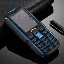 KUH T3 robuuste telefoon  waterdicht stofdicht schokbestendig  MTK6261DA  2400mAh batterij  2 4 inch  Bluetooth  FM  Dual SIM (zwart blauw)