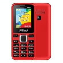 UNIWA E1801 mobiele telefoon  1 77 inch  800mAh batterij  21 toetsen  ondersteuning Bluetooth  FM  MP3  MP4  GSM  Dual SIM (Rood)