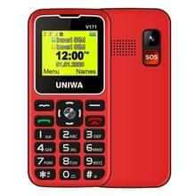 UNIWA V171 Mobiele telefoon  1 77 inch  1000mAh batterij  21 toetsen  ondersteuning Bluetooth  FM  MP3  MP4  GSM  Dual SIM  met Docking Base (Rood)