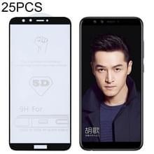 25 stuks 9H 5D volledige lijm volledig scherm gehard glas film voor Huawei Honor 9 Lite