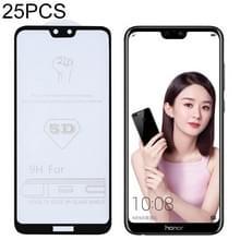 25 stuks 9H 5D volledige lijm volledig scherm gehard glas film voor Huawei Honor 9i