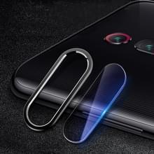 Scratchproof mobiele telefoon metalen achteruitrijcamera lens ring + achteruitrijcamera lens beschermende filmset voor Xiaomi Redmi K20 Pro (zwart)