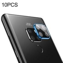 10 stuks titanium legering metalen camera lens beschermer gehard glas film voor Huawei mate 20 (blauw)