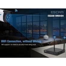 ESCAM WNK404 4 kanaals 720P 1/ 4 inch CMOS 1.0 Mega Pixel WiFi Bullet IP Camera NVR Kits  de visie van de nacht van de steun / bewegingsdetectie