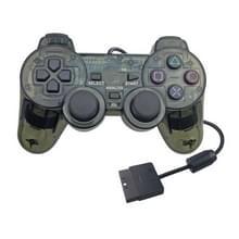 Dubbele motortrillingen transparante gamehandvat voor PS2 (zwart)