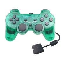 Dubbele motortrillingen transparante gamehandvat voor PS2 (groen)