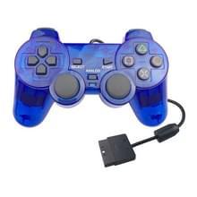Dubbele motortrillingen transparante gamehandvat voor PS2 (blauw)