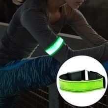 LED-flitser veiligheid reflecterend Nylon lichte oplaadbare sport pols Belt(Green)