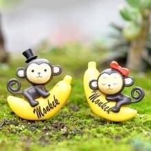 2 PC's Banana Monkey tuin poppenhuis decoratie Moss Micro landschap hars Ornaments(Grey)