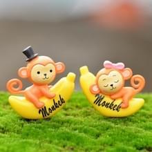 2 PC's Banana Monkey tuin poppenhuis decoratie Moss Micro landschap hars Ornaments(Yellow)