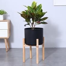 Bloempot Set stevige houten bloem Frame + PP bloem Pot(Black)