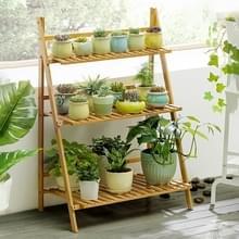 Bamboe 3-tier opknoping plant stand planter planken bloem pot opslag rek vouwen display rekken planten plat  breedte: 70cm (abrikoos)