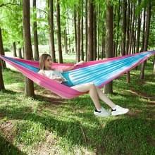 Draagbare buiten parachute hangmat met klamboes (roze blauw)