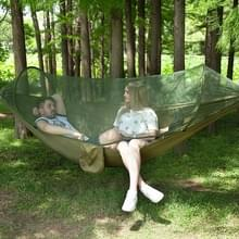 Draagbare Outdoor Camping vol-automatische nylon parachute hangmat met klamboes  grootte: 290 x 140cm (Army Green)