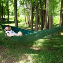 Draagbare Outdoor Camping volledige-automatische nylon parachute hangmat met klamboes  grootte: 290 x 140cm (donkergroen)