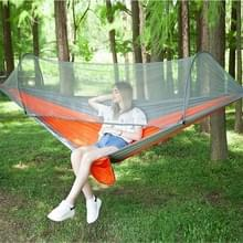 Draagbare Outdoor Camping vol-automatische nylon parachute hangmat met klamboes  grootte: 290 x 140cm (zilver grijs + oranje)