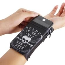 Multi-functionele universele sport arm tas telefoon zak pols Pack voor 5 5 inch of lager smartphones  grootte: 16.5 x11cm (witte schedel)