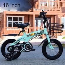 ZHILTONG 5166 16 inch opvouwbare Portable kinderen pedaal Mountain Bike met voorste mand & Bell  aanbevolen hoogte: 110-125cm (groen)