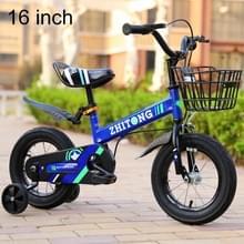 ZHITONG 8366 16 inch Fashion versie kinderen high carbon stalen frame balans auto pedaal fiets met voorste mand & Bell  aanbevolen hoogte: 110-125cm (blauw)