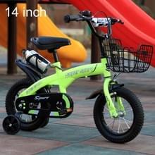ZHITONG 5188 14 inch sport versie kinderen hoge carbon stalen frame pedaal fiets met voorste mand & Bell  aanbevolen hoogte: 98-115cm (groen)