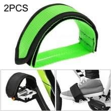 2 PCS Fiets pedalen Banden Voeten Set Met Anti-slip Straps Beam Foot (Groen)