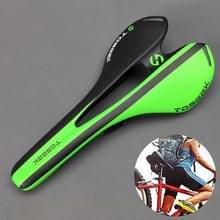 TOSEEK Road Bike Carbon Fiber zadel fiets holle zadel zadel  3K textuur + extinctie (groen)